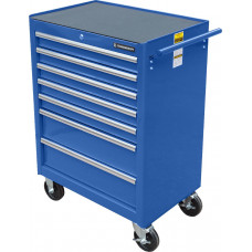 Тележка инструментальная для автосервиса с 7 ящиками, синего цвета